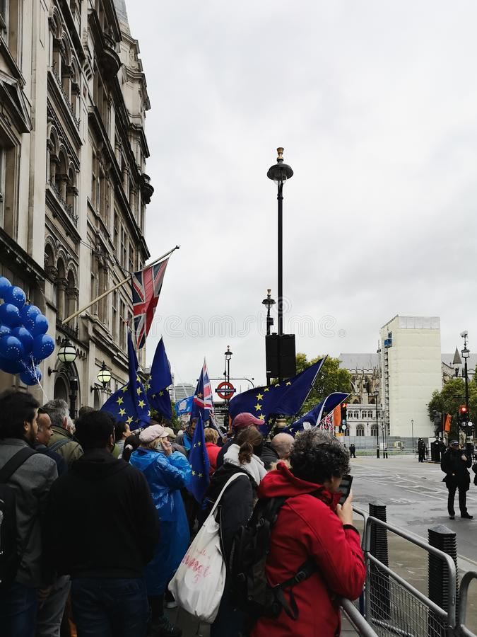 Anti-Brexit protest in London near Parliament. London, UK - 14 October, 2019: Anti-Brexit protest in London near Parliament. European Union and British Union royalty free stock image