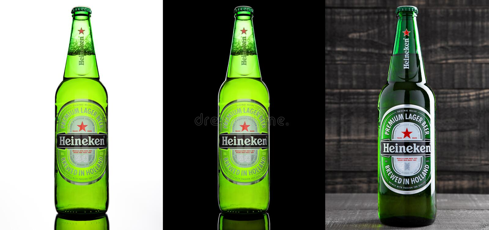 LONDON,UK -OCTOBER 17, 2016: Bottle of Heineken Lager Beer on three different backgrounds. Heineken is the flagship product of royalty free stock photography