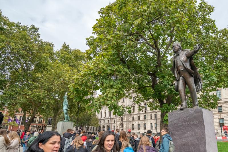 London, UK - October 7, 2019: David Lloyd George Statue. Participants of the protest rally Extinction Rebellion stock photo