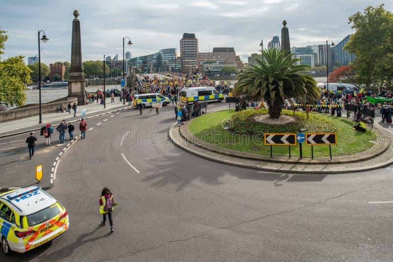 London, UK - October 7, 2019: Extinction Rebellion - Lambeth Bridge is blocked, aerial view royalty free stock photo