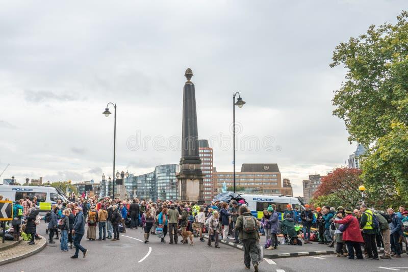 London, UK - October 7, 2019: Extinction Rebellion - Lambeth Bridge is blocked stock photography