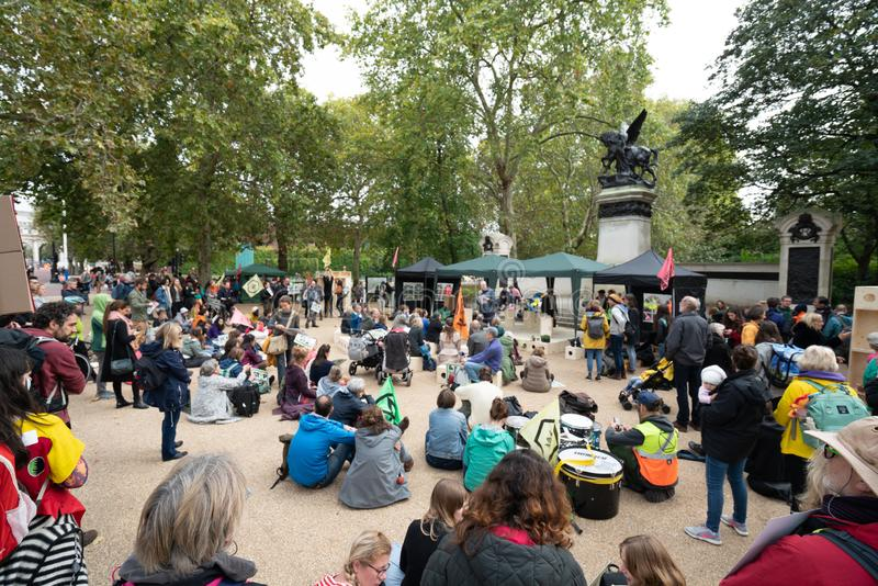 London, UK - October 7, 2019: Extinction Rebellion protesters block traffic on city streets royalty free stock photos