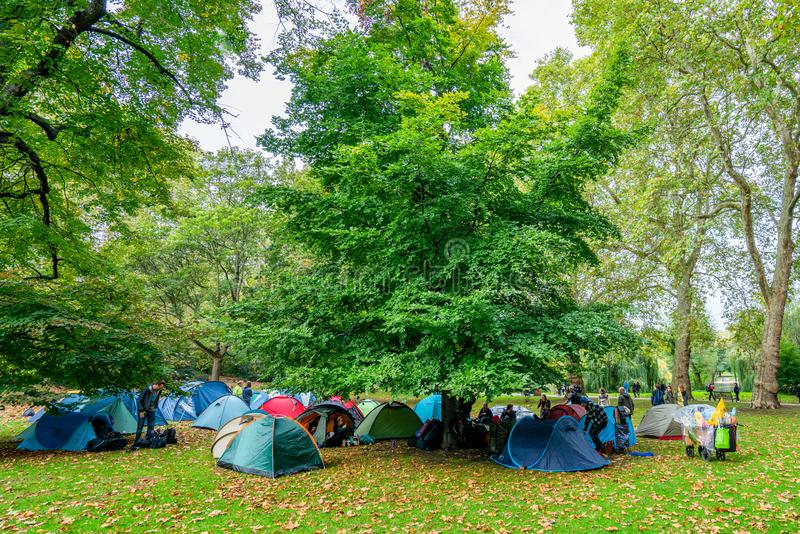 London, UK - October 7, 2019: Extinction Rebellion - tents of the participants of the action in St James`s Park stock images
