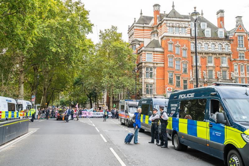 London, UK - October 7, 2019: London police. Participants of the protest rally Extinction Rebellion stock photo