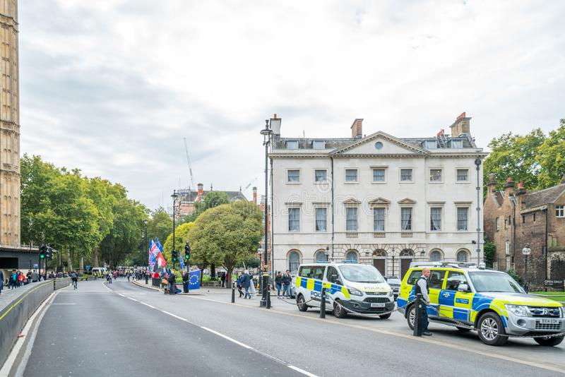 London, UK - October 7, 2019: London police. Participants of the protest rally Extinction Rebellion stock photography