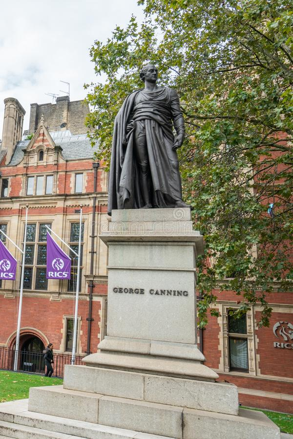 London, UK - October 7, 2019: Parliament Square Garden, George Canning Statue. London, UK - October 7, 2019: George Canning Statue is in Parliament Square Garden royalty free stock photography