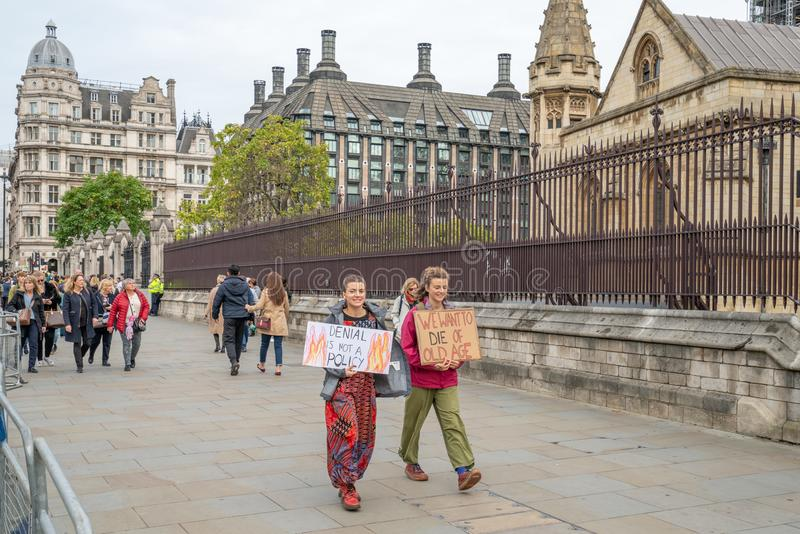 London, UK - October 7, 2019: Participants of the protest rally Extinction Rebellion, Abingdon Street stock image