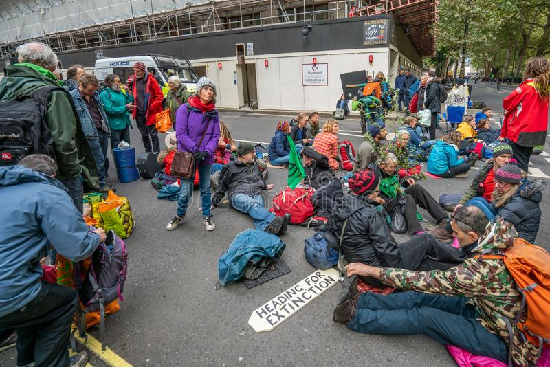 London, UK - October 7, 2019: Participants of the protest rally Extinction Rebellion stock image