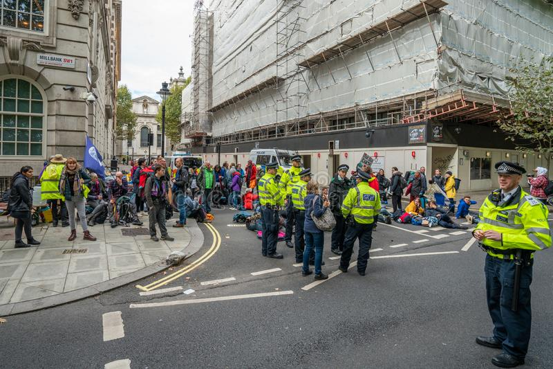 London, UK - October 7, 2019: Participants of the protest rally Extinction Rebellion royalty free stock photo