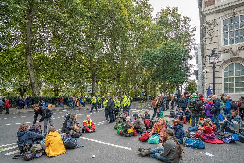 London, UK - October 7, 2019: Participants of the protest rally Extinction Rebellion stock photography