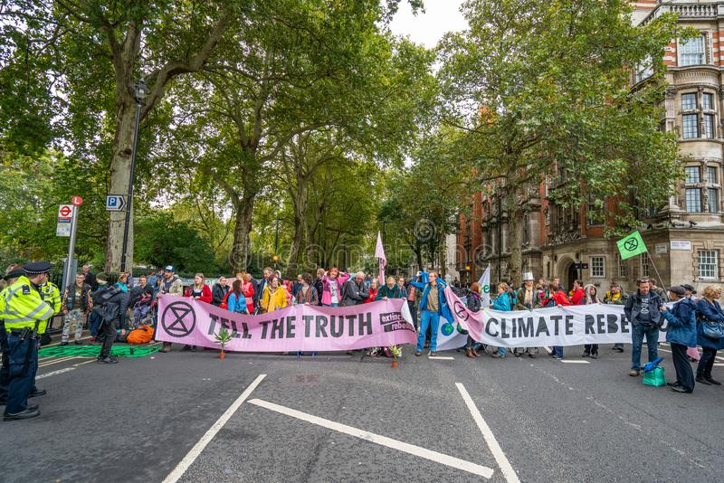 London, UK - October 7, 2019: Participants of the protest rally Extinction Rebellion stock photo