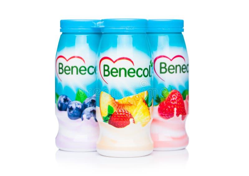LONDON, UK - OCTOBER 20, 2018: Plastic bottles of Benecol lower cholesterol yogurt drink with fruits on white background. Product royalty free stock images