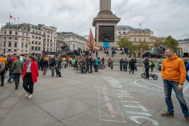 London, UK - October 7, 2019: protesters at the Extinction Rebellion movement at Trafalgar Square royalty free stock image