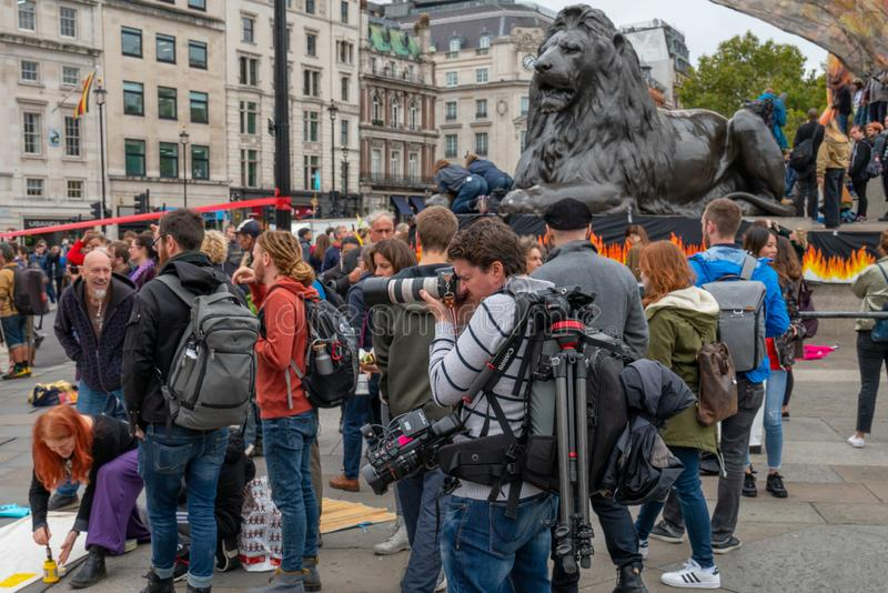 London, UK - October 7, 2019: protesters at the Extinction Rebellion movement at Trafalgar Square royalty free stock images