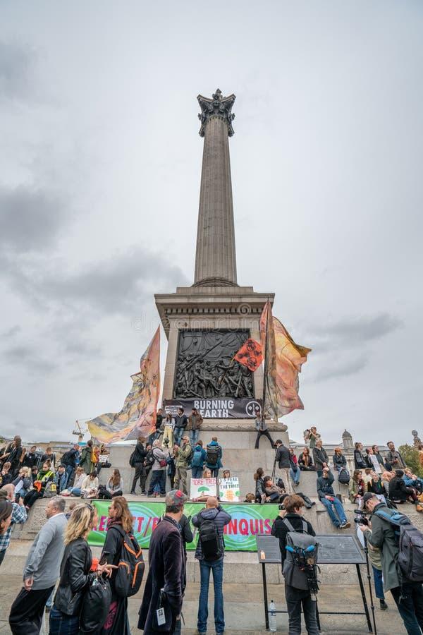 London, UK - October 7, 2019: protesters at the Extinction Rebellion movement at Trafalgar Square stock photo