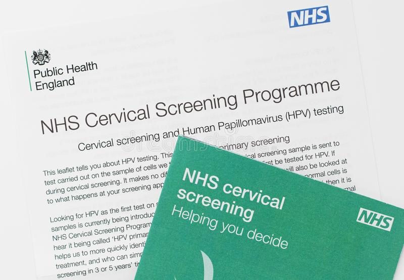 London / UK - October 5th 2019 - Cervical screening information letter and booklet from the NHS royalty free stock images