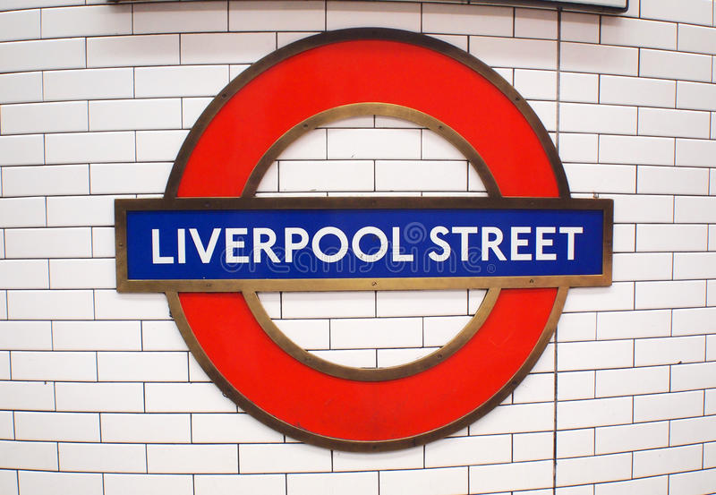 LONDON, UK - October 27th, 2014: The sign for Liverpool Street Underground Station stock photo