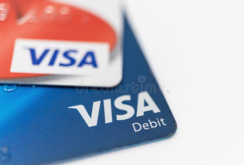 London / UK - October 9th 2019 - VISA logo on bank cards, closeup macro view with a shallow depth of field.  royalty free stock photography