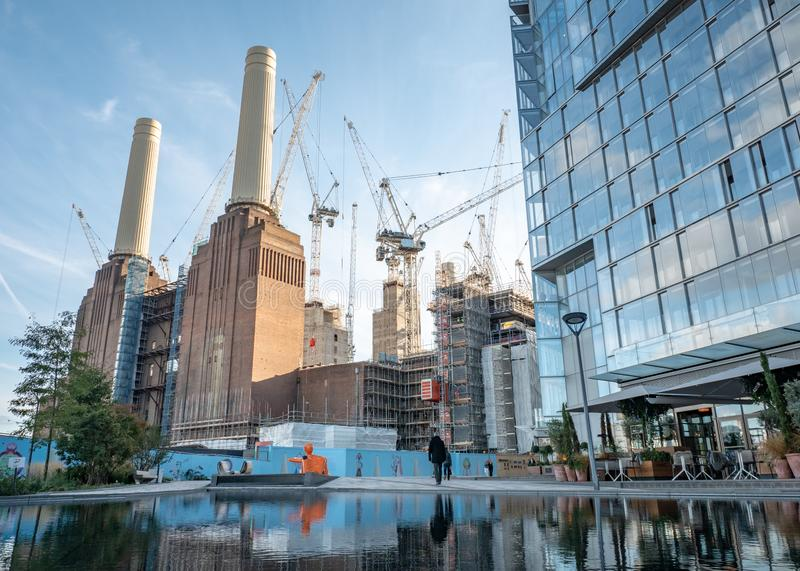 Battersea Power Station redevelopment, London. LONDON, UK - 31 OCTOBER 2018: Redevelopment work at the iconic Battersea Power Station building undergoing stock image