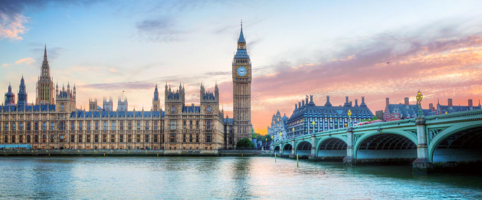 London, UK panorama. Big Ben in Westminster Palace on River Thames at sunset royalty free stock photos