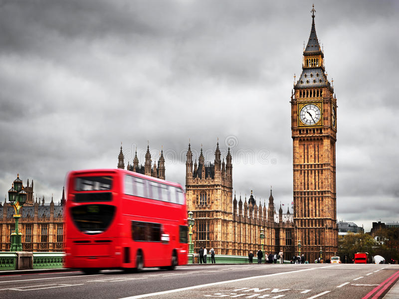 Download London, The UK. Red Bus And Big Ben Stock Image - Image of spire, historical: 35172719
