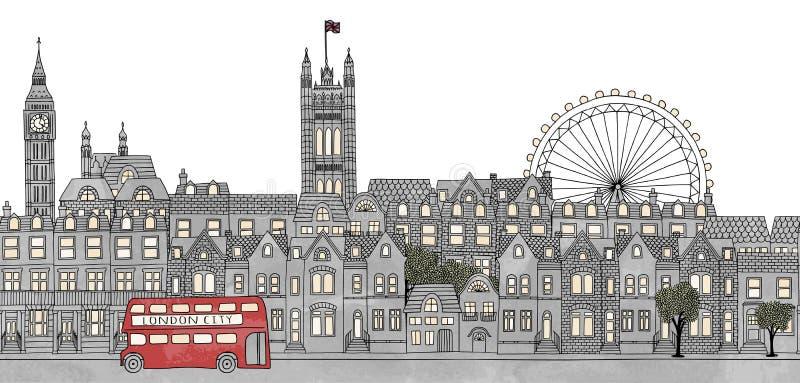 London UK - sömlöst baner av London horisont stock illustrationer