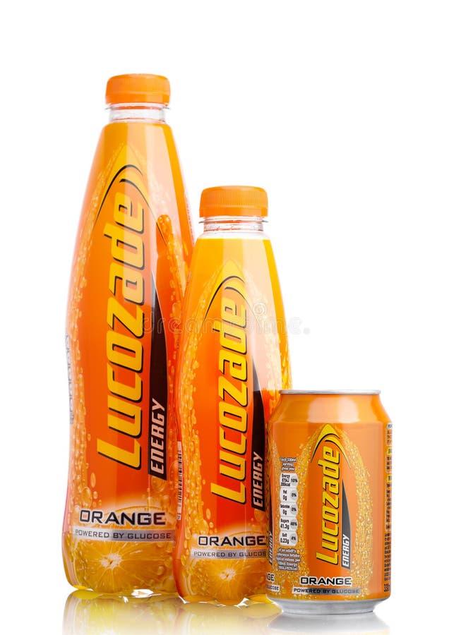 LONDON,UK - SEPTEMBER 24, 2017: Bottles of Lucozade Orange Energy Drink shot in studio on white. Background stock photo