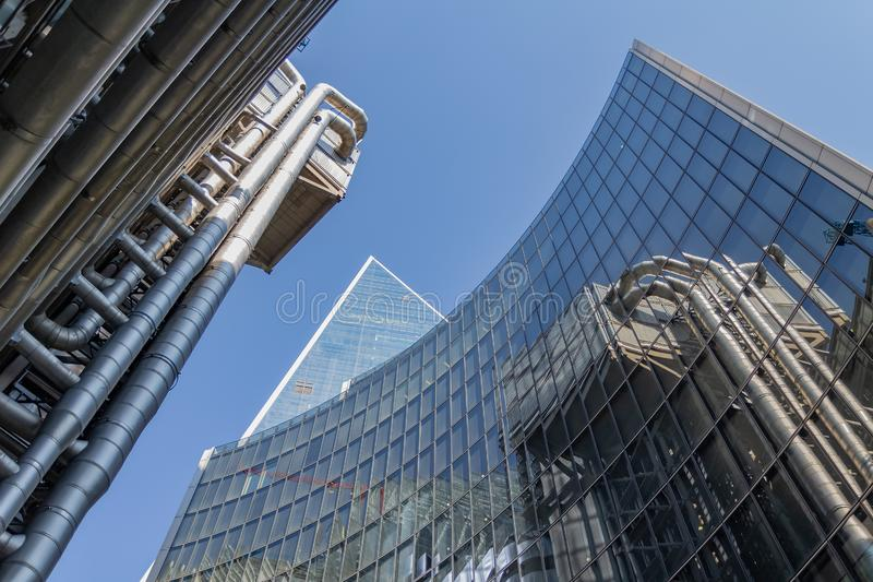 London, UK - September 02, 2018: The Lloyd`s Building in London`s financial district. One of most fancy skyscraper in the City o stock image