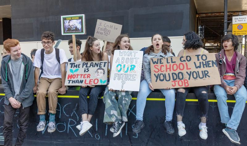 London / UK - September 20th 2019 - Young climate change activists hold signs at the Climate Strike. London / UK - September 20th 2019 - Young climate change stock photo