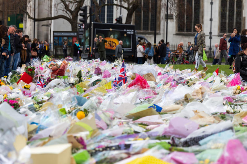 London, UK - 1st April, 2017: Parliament Square has been covered. With flowers for those killed in terrorist attack, London, Uk royalty free stock images