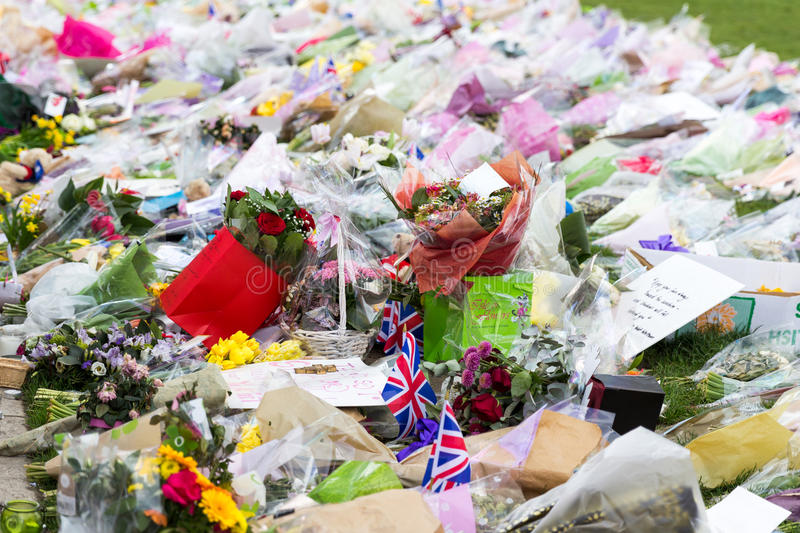 London, UK - 1st April, 2017: Parliament Square has been covered. With flowers for those killed in terrorist attack, London, Uk stock image