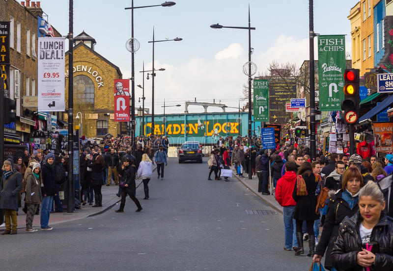 LONDON, UK - 1ST MARCH 2014: Camden Town during the day with lot royalty free stock photo