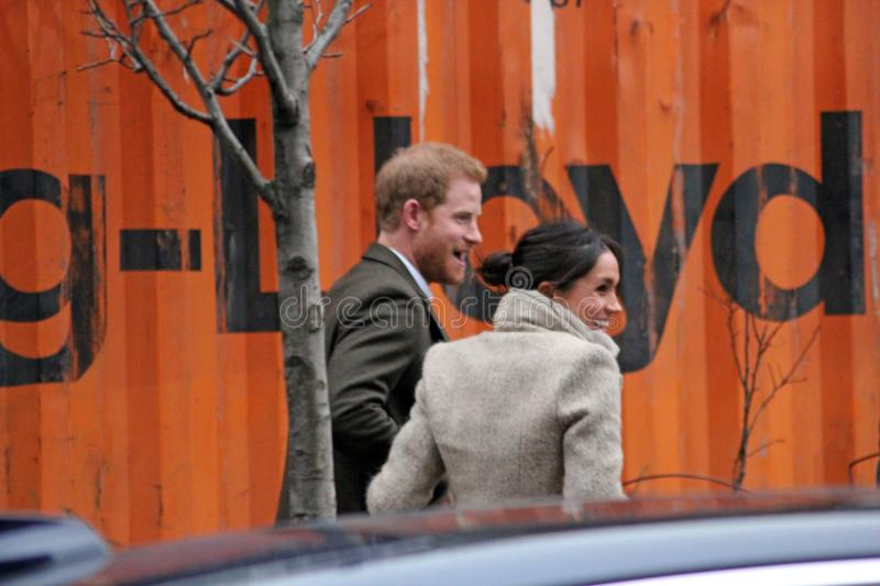 Prince Harry and Meghan Markle visit Reprezent radio at POP Brixton, London, january 2018. Prince Harry & Meghan Markle, London, UK. 9th January, 2018. Prince royalty free stock photo