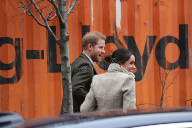 Prince Harry and Meghan Markle visit Reprezent radio at POP Brixton to see work being done to comba. Prince Harry & Meghan Markle, London, UK. 9th January, 2018 royalty free stock photos
