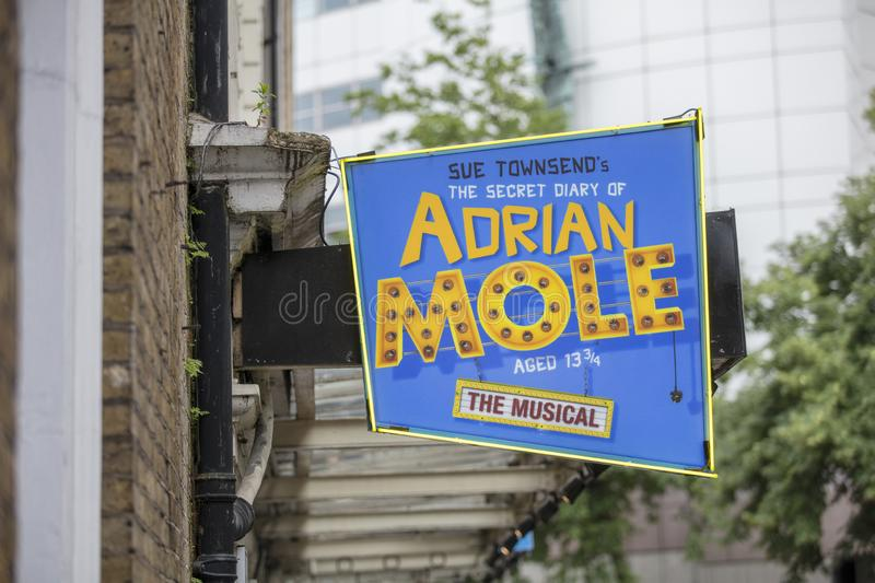 London, UK, 18th July 2019, entrance to the Ambassadors Theatre for the Secret Life of Adrian Mole royalty free stock image