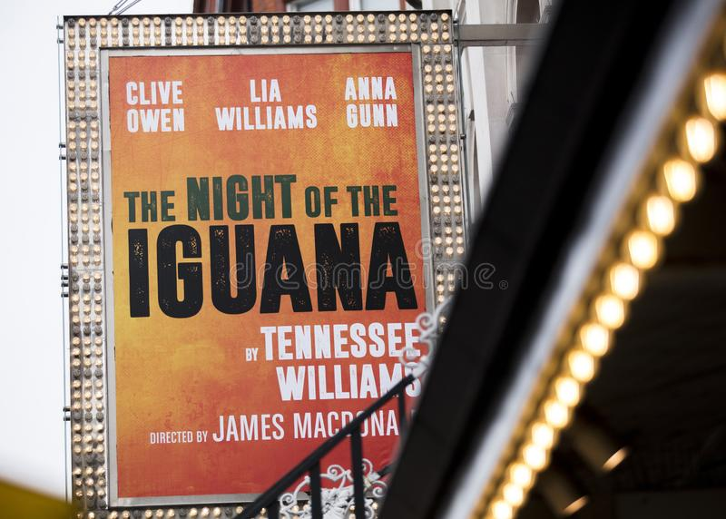London, UK, 18th July 2019, entrance to the Noel Coward Theatre for the Night of the Iguana Play stock photo