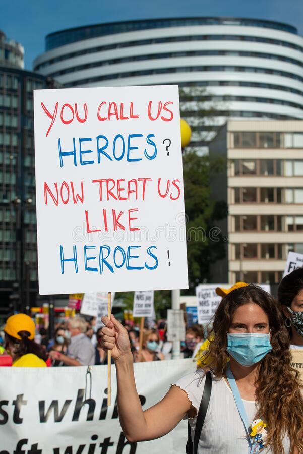 NHS workers in protest for a pay rise from the British Government. stock photo