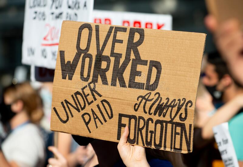 NHS workers protest, demanding a pay rise from the British Government. royalty free stock images