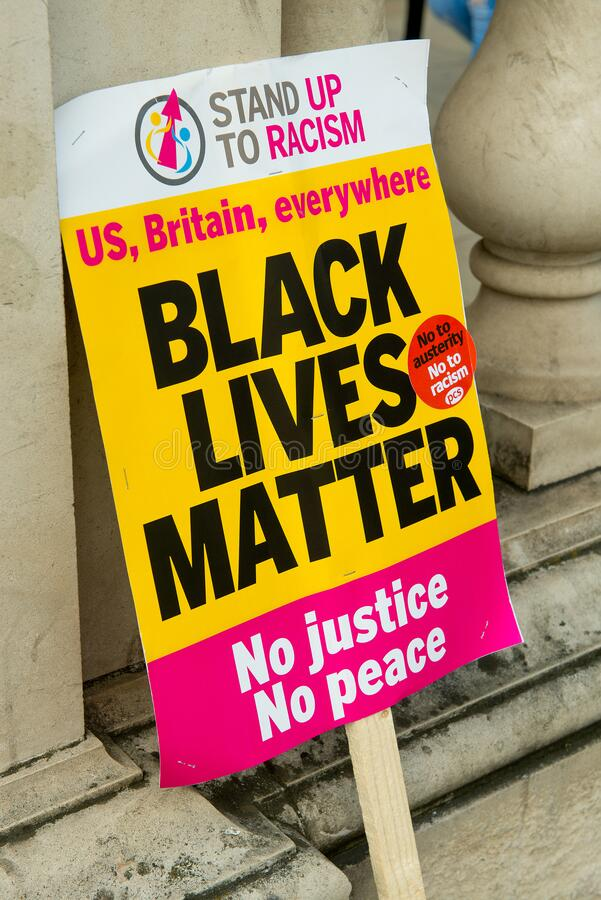 Placard at the UK Black Lives Matter protest march in London. London, UK. 16th July 2016. Placard used by protesters at the Black Lives Matter / Stand Up To stock photos