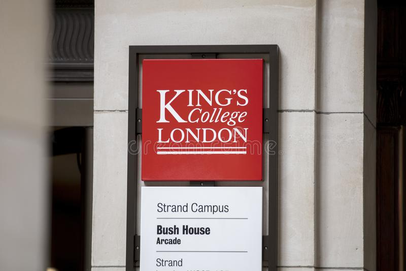 London, UK, 18th July 2019, sign for Kings College Strand Campus Bush house royalty free stock image