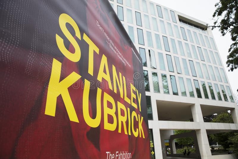 London, UK, 18th July 2019, Stanley Kubrick Exhibition banners outside the Design Museum in Kensington stock image