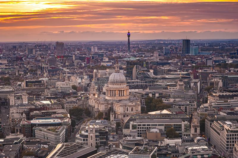 London, UK. View from Sky Garden Terraces at densely built London with St. Paul`s Cathedral. View from Sky Garden Terraces know as Walkie Talkie building at royalty free stock image