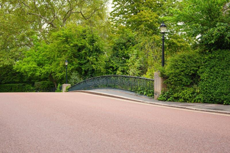 London, UK. 05-03-2019. York bridge across Boating lake canal in Regent`s Park in city centre. stock image