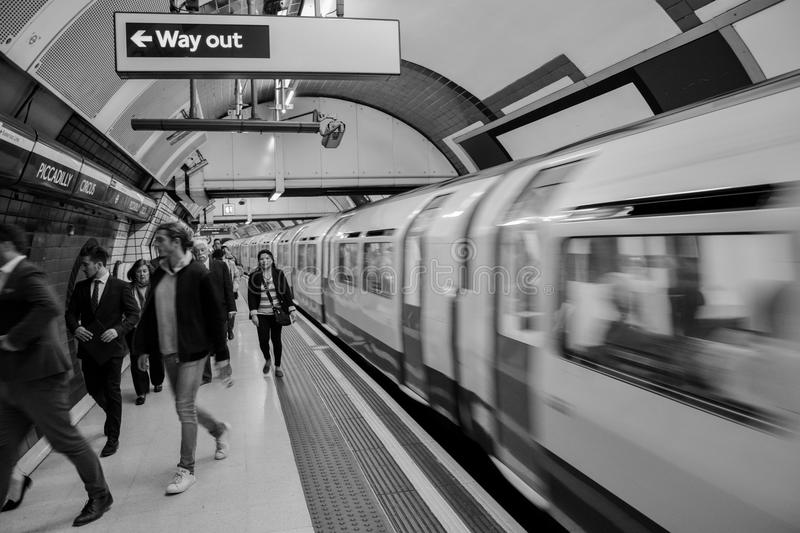 London Underground - rush hour. A picture of the famous London underground - Piccadilly Circus. People rushing to work in the busy London Capital royalty free stock photography