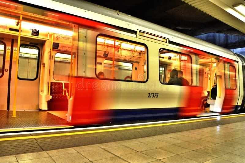 London Underground. S Stock tube train at Blackfriars station stock photos