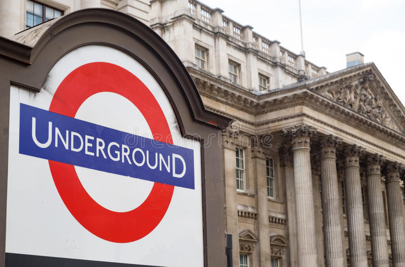 London underground sign outside Mansion House, London royalty free stock image