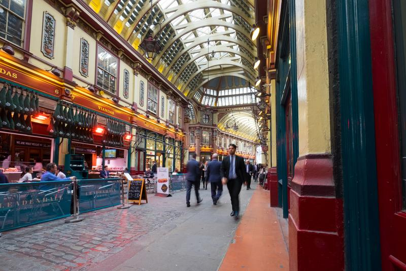 London, United Kingdom. April 23rd 2018. Leadenhall Market in the City of London, bustling with traders out for lunch. Popular victorian covered market royalty free stock photos