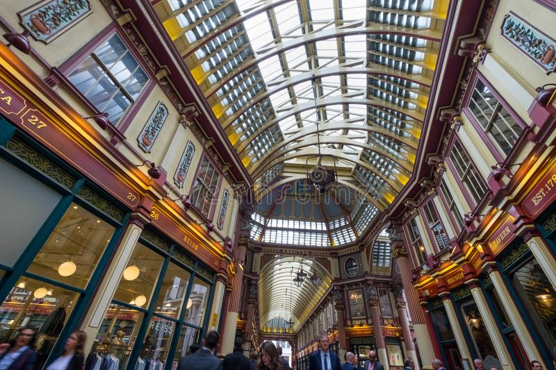 London, United Kingdom. April 23rd 2018. Leadenhall Market in the City of London, bustling with traders out for lunch. Popular victorian covered market stock image