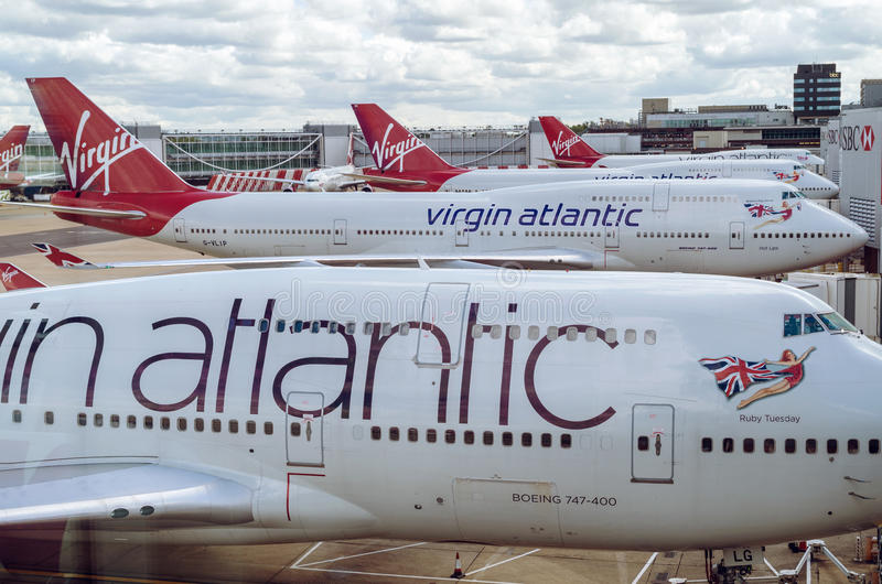 Download LONDON, UNITED KINGDOM - April 10, 2015: Virgin Atlantic Boeing B747 Airplanes Parked At Gatwick Airport Editorial Photo - Image of b747, aviation: 53658861