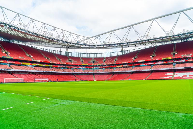 London, United Kingdom - AUG 31,2019: A picture of empty Emirates Stadium during weekend which open for tourist to visit. Its a. Home for Arsenal Football Club stock images